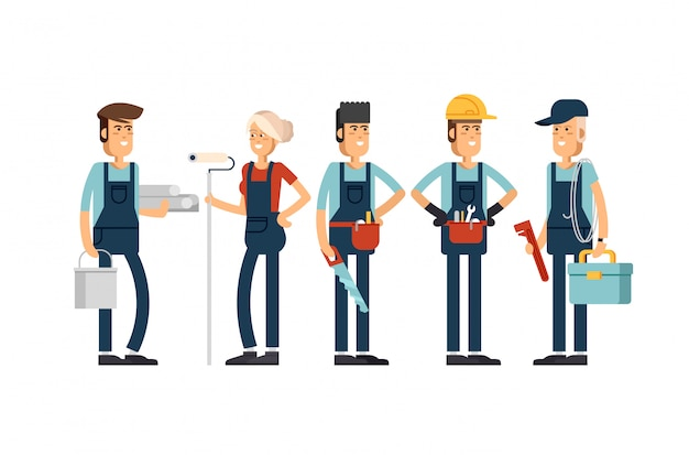 Cool  concept layout on construction team characters Premium Vector