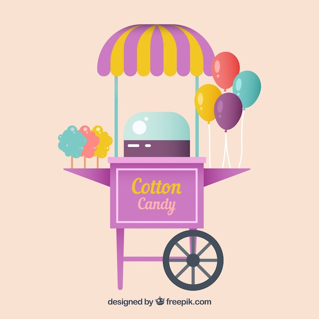 Cool cotton candy cart and balloons
