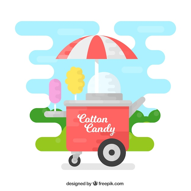 Cool cotton candy cart in the park