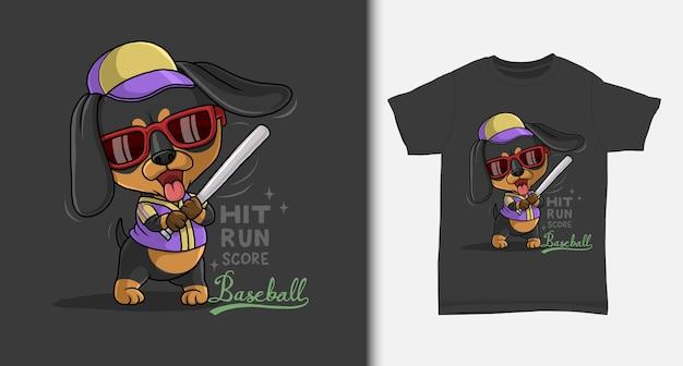 Tshirt 디자인으로 야구를하는 멋진 닥스 훈트 프리미엄 벡터