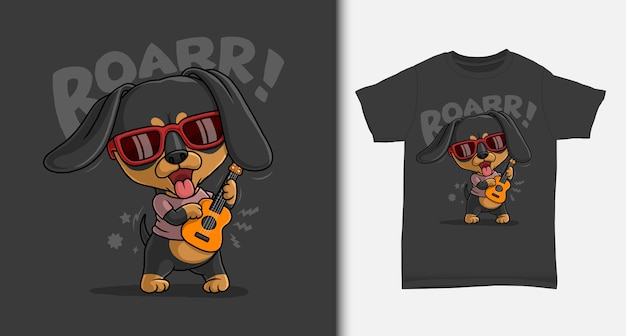 Tshirt 디자인으로 기타를 연주하는 멋진 닥스 훈트 프리미엄 벡터