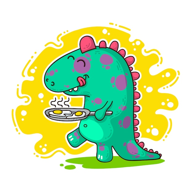 Cool dino doodle illustration Premium Vector
