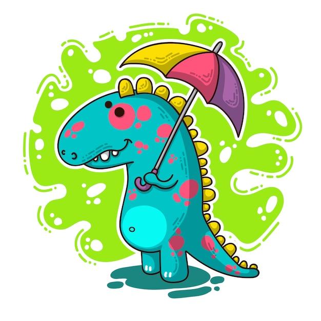 Cool dino doodle illustration Premium Vector