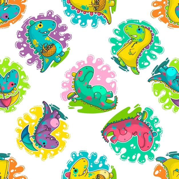 Cool dino doodle vector pattern Premium Vector