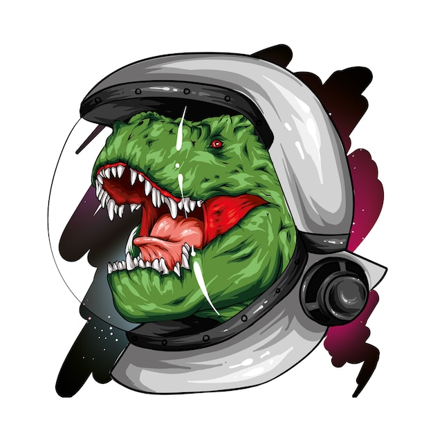 Cool dinosaur on the background of space. Premium Vector