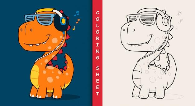 Cool dinosaur listening music with headphones. coloring sheet. Premium Vector