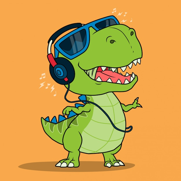 Cool dinosaur listening music with headphones. Premium Vector