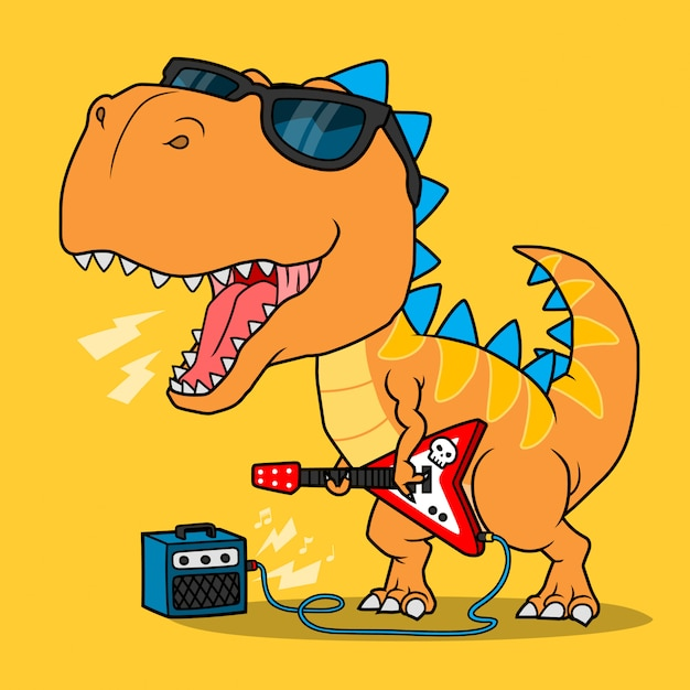 Cool dinosaur playing guitar. Premium Vector