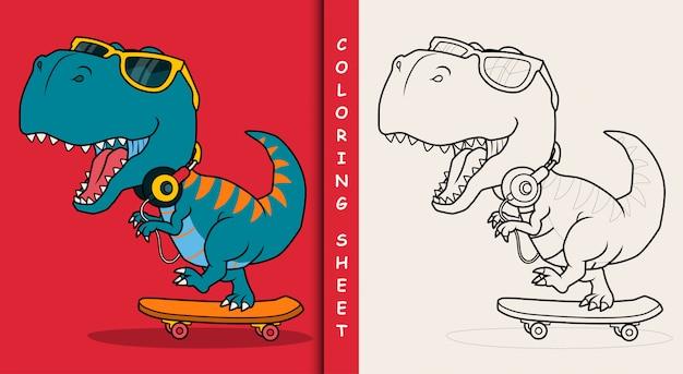 Cool dinosaur playing skateboard. coloring sheet. Premium Vector