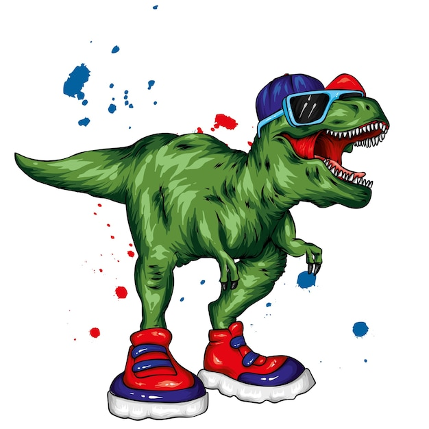 Cool dinosaur in sneakers, glasses and a cap. Premium Vector