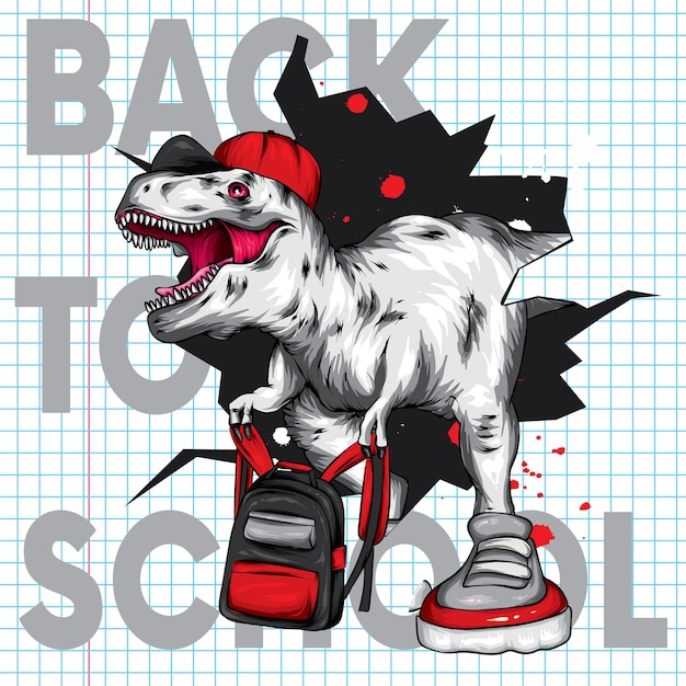 Cool dinosaur with a cap and a school backpack. Premium Vector