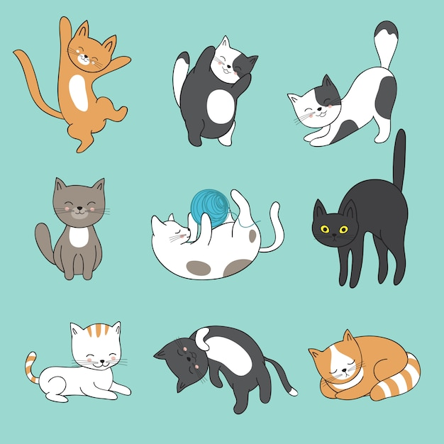 Cool doodle abstract cats characters. hand drawn cartoon kittens Premium Vector