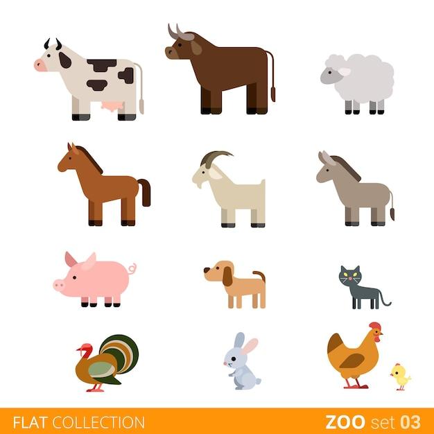 クールなフラットデザインのトレンディなスタイルの動物のアイコンセット。フラット動物園の子供たちの野生の農場の家畜漫画コレクション。牛雄牛羊馬山羊豚犬猫ペット七面鳥ウサギ野ウサギ鶏鶏。 無料ベクター