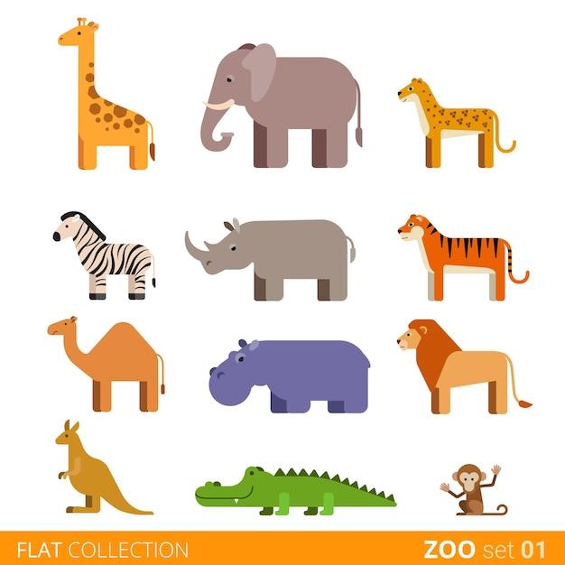 멋진 평면 디자인 유행 스타일 아이콘 세트입니다. 동물원 어린이 야생 농장 가축 만화 모음. 기린 코끼리 치타 얼룩말 코뿔소 호랑이 낙타 하마 사자 캥거루 악어 원숭이. 무료 벡터