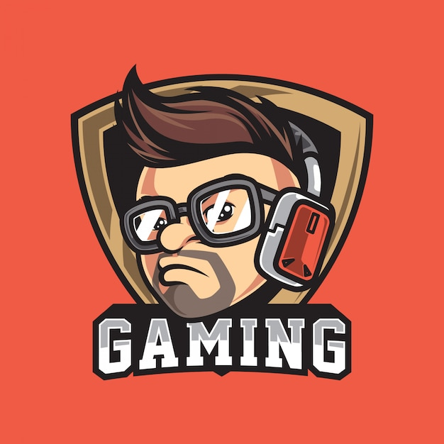 Cool gamer character head vintage logo Premium Vector