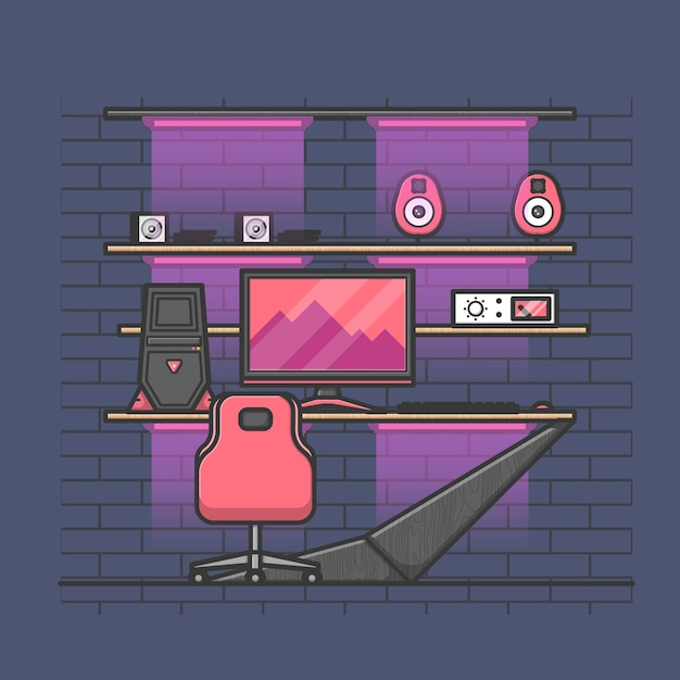 Premium Vector Cool Gamer Room Design