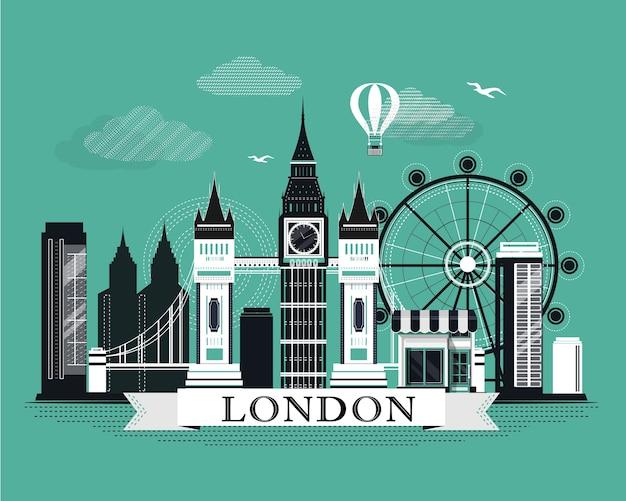 Прохладный графический плакат горизонта города лондона с ретро выглядящими подробными элементами. пейзаж с достопримечательностями. Premium векторы