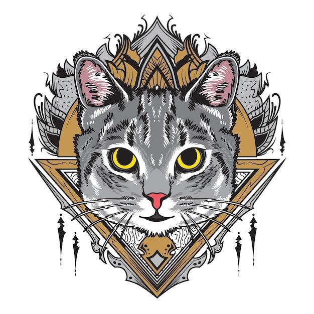 멋진 회색 고양이 만다라 그림 프리미엄 벡터