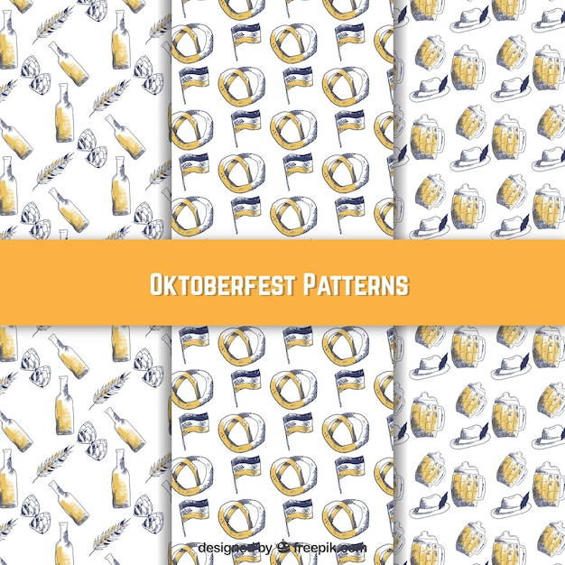 Cool hand drawn oktoberfest patterns