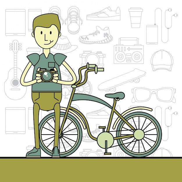 Cool hipster guy cartoon Premium Vector
