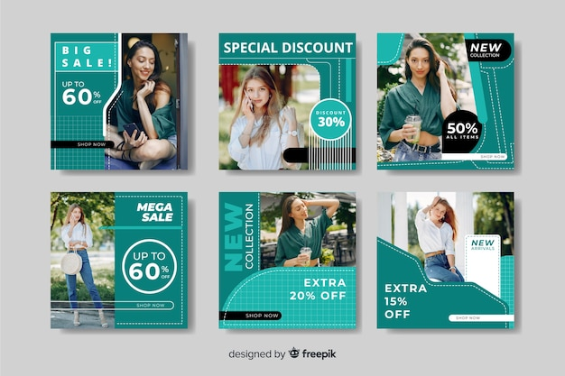Cool instagram stories template with discounts Free Vector