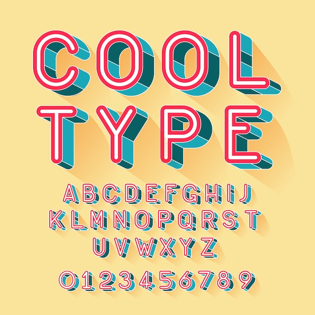 Cool isometric font Free Vector