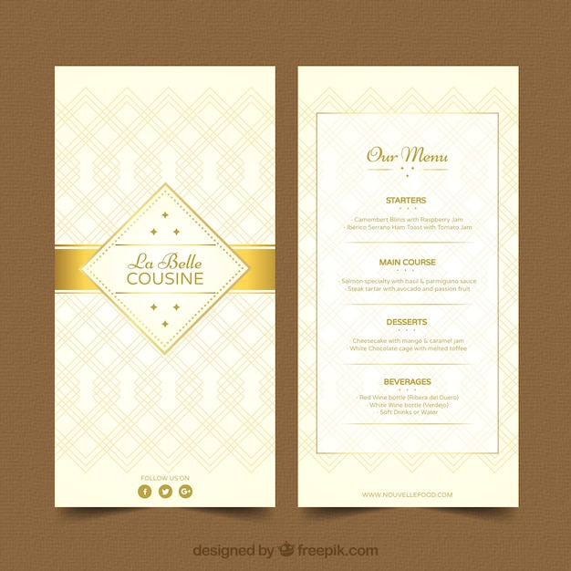 Cool menu template with golden ornaments Vector | Free Download
