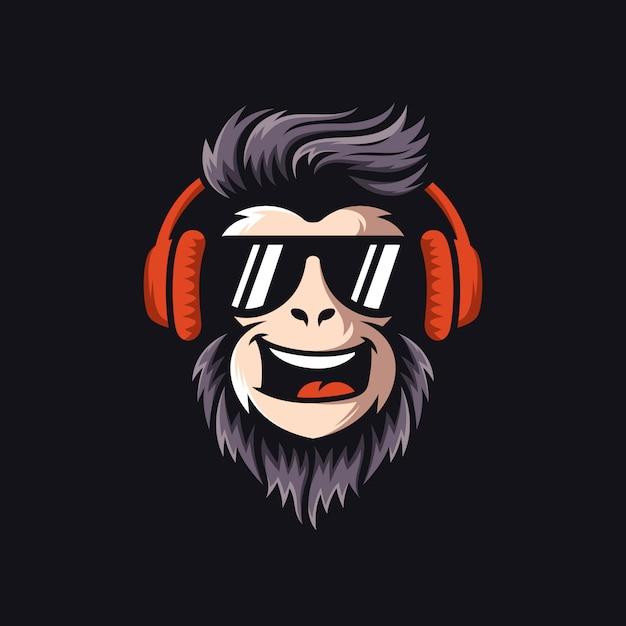 Cool monkey logo design vector illustrator Premium Vector