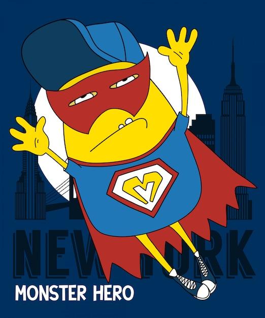 Cool monster vector design for t shirt printing Premium Vector