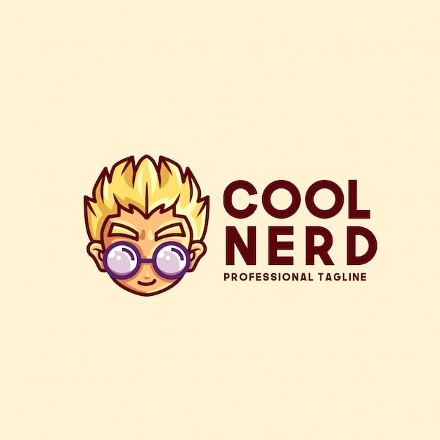 Cool nerd logo template Premium Vector