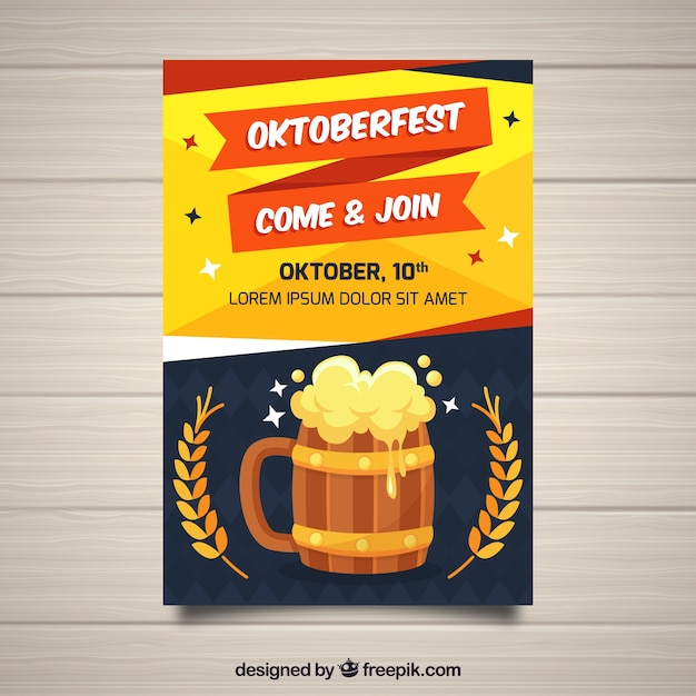 Cool oktoberfest poster with beer and wheat