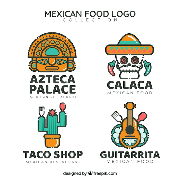 Cool pack of mexican restaurant logos Free Vector