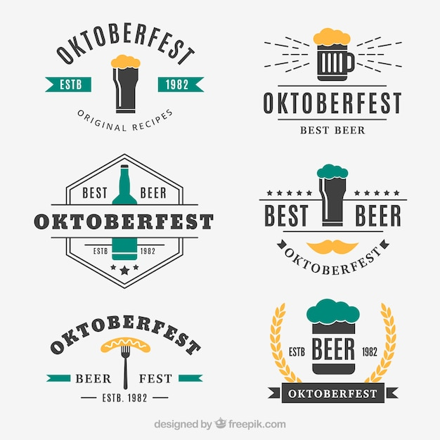 Cool pack of beer labels with vintage style