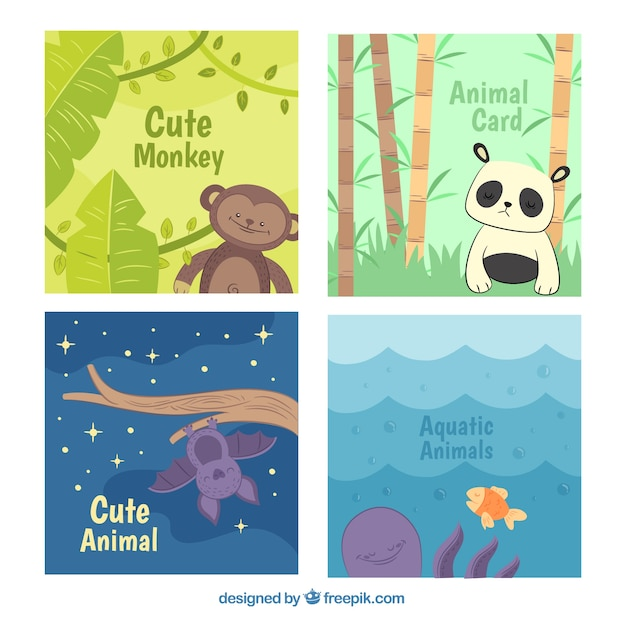 Cool pack of cards with cute animals