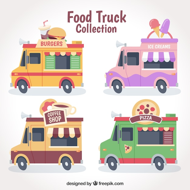 Cool pack of colorful food trucks