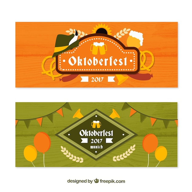 Cool pack of oktoberfest banners with vintage style
