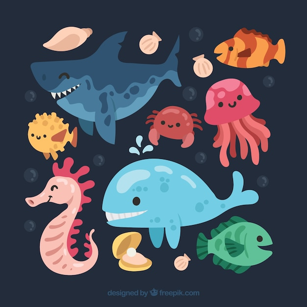 Cool pack of smiley sea animals Free Vector