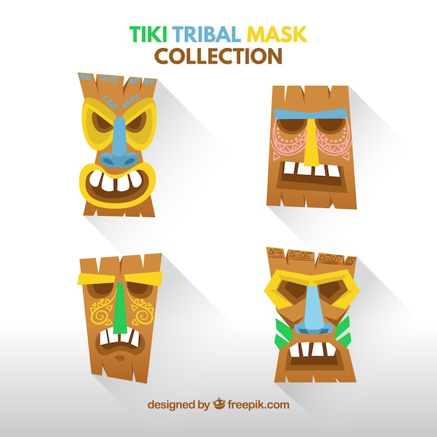 Cool pack with variety of tiki masks