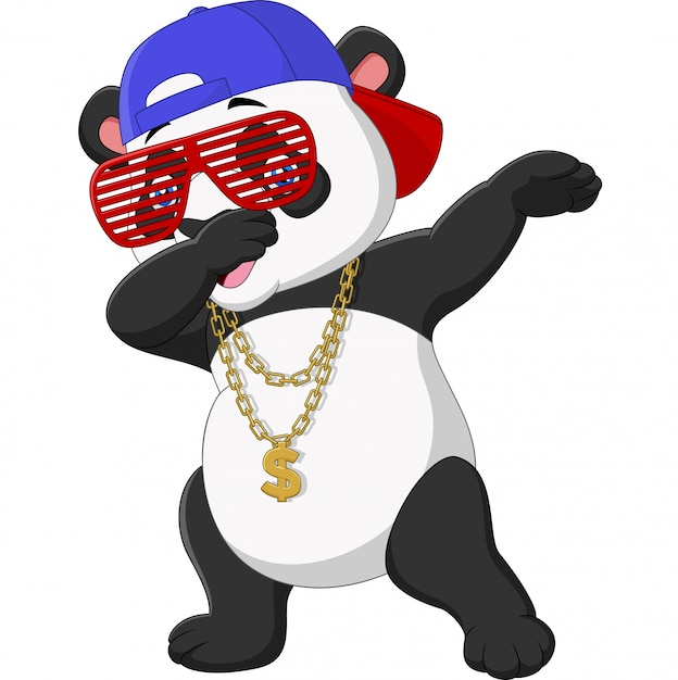 Крутой панда танцует в темных очках, шляпе и золотом ожерелье Premium векторы