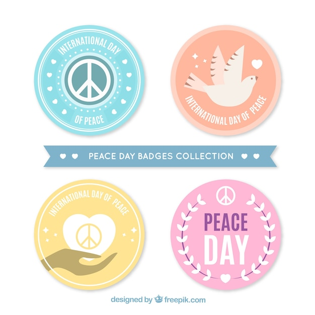 Cool peace badges with flat design