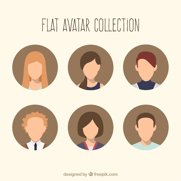 Cool set of avatars Free Vector