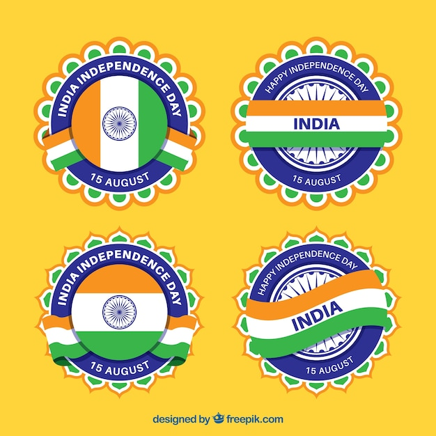 Cool set of badges for the independence day of india