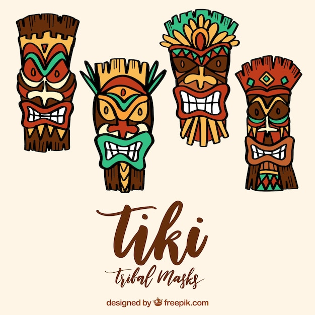 cool set of hawaiian tiki mask vector free download