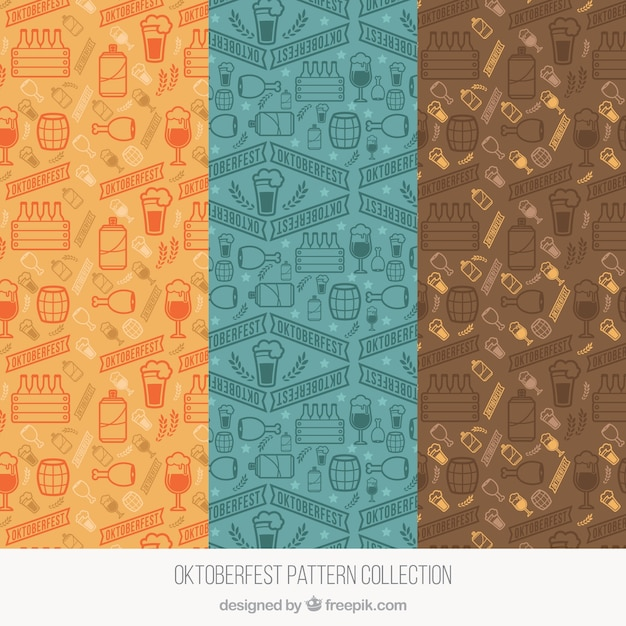 Cool set of modern oktoberfest patterns