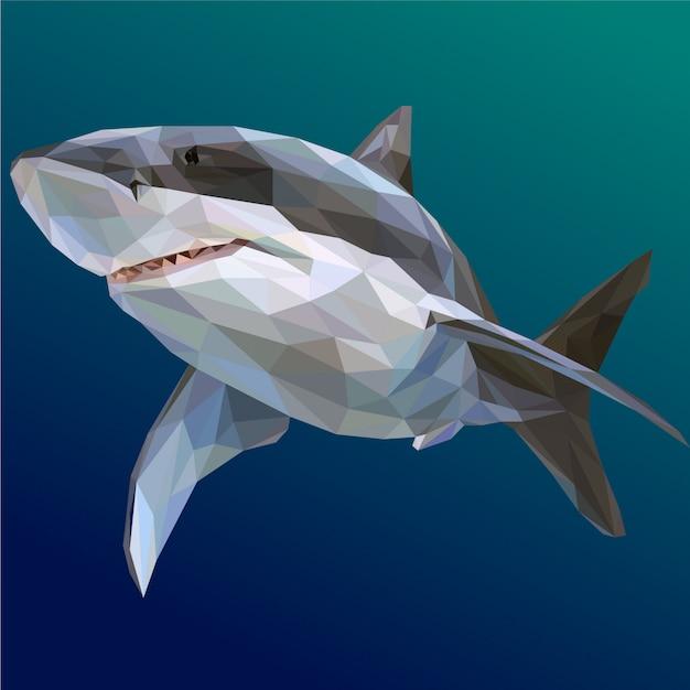Cool shark polygonal illustration Premium Vector