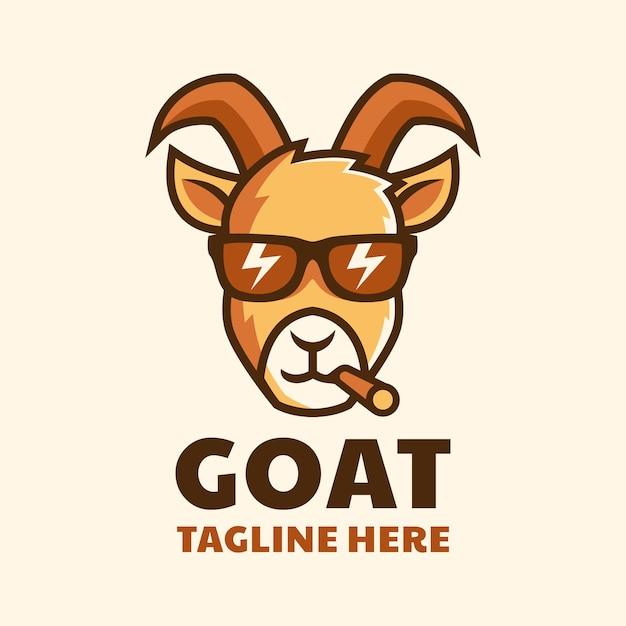 Крутая курящая коза в очках мультфильм дизайн логотипа Premium векторы