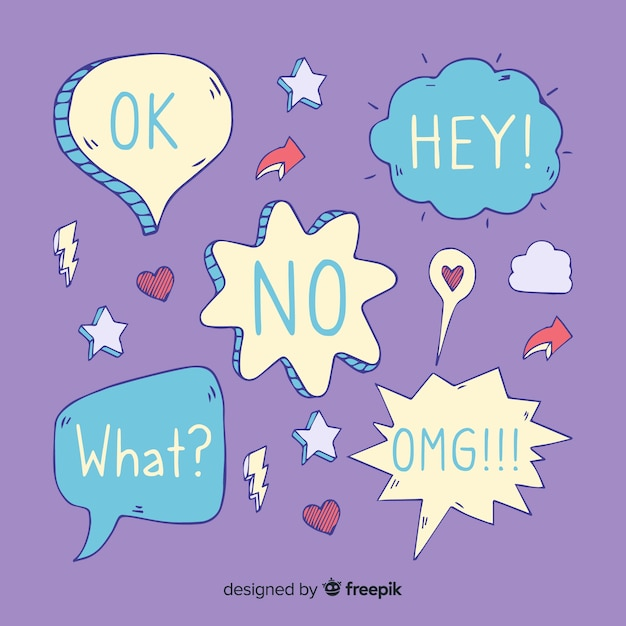 Cool speech bubbles with different expressions Free Vector