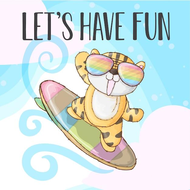 Cool tiger happy fun -vector Premium Vector