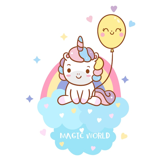 Cool unicorn holding balloon with rainbow Premium Vector