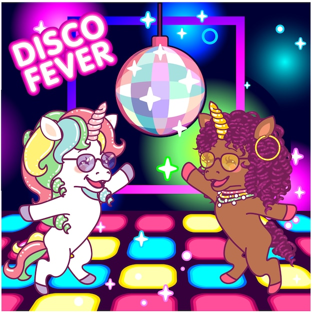 Cool unicorns dancing at the disco under the mirrorball, 70s disco fever Premium Vector